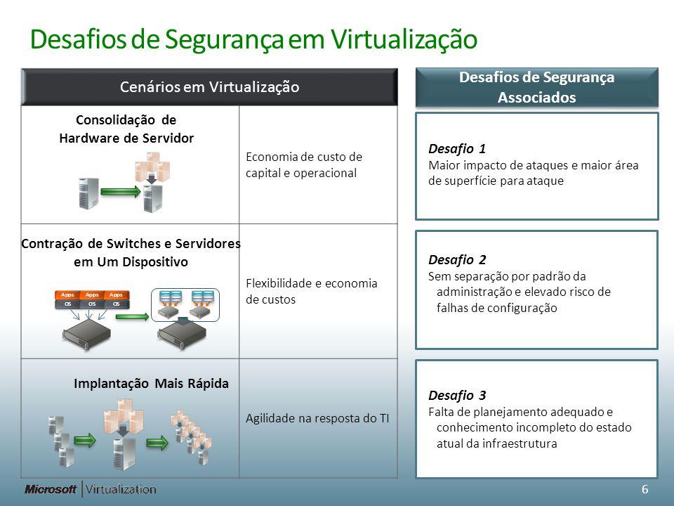 Desafios de Segurança em Virtualização Cenários em Virtualização Facilidade de continuidade de negócios e capacidade de impor restrições em sistemas Níveis de serviço melhorados Mobilidade Desafio 5 Identidade separada do local físico e diretivas de segurança precisam mover- se com a máquina virtual Encapsulamento Desafio 4 Esforços adicionais para gerenciar sistemas offline 7 Desafios de Segurança Associados