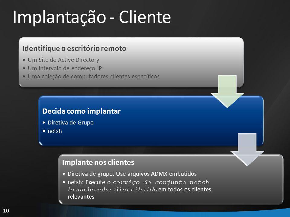 10 Implantação - Cliente Identifique o escritório remoto Um Site do Active Directory Um intervalo de endereço IP Uma coleção de computadores clientes