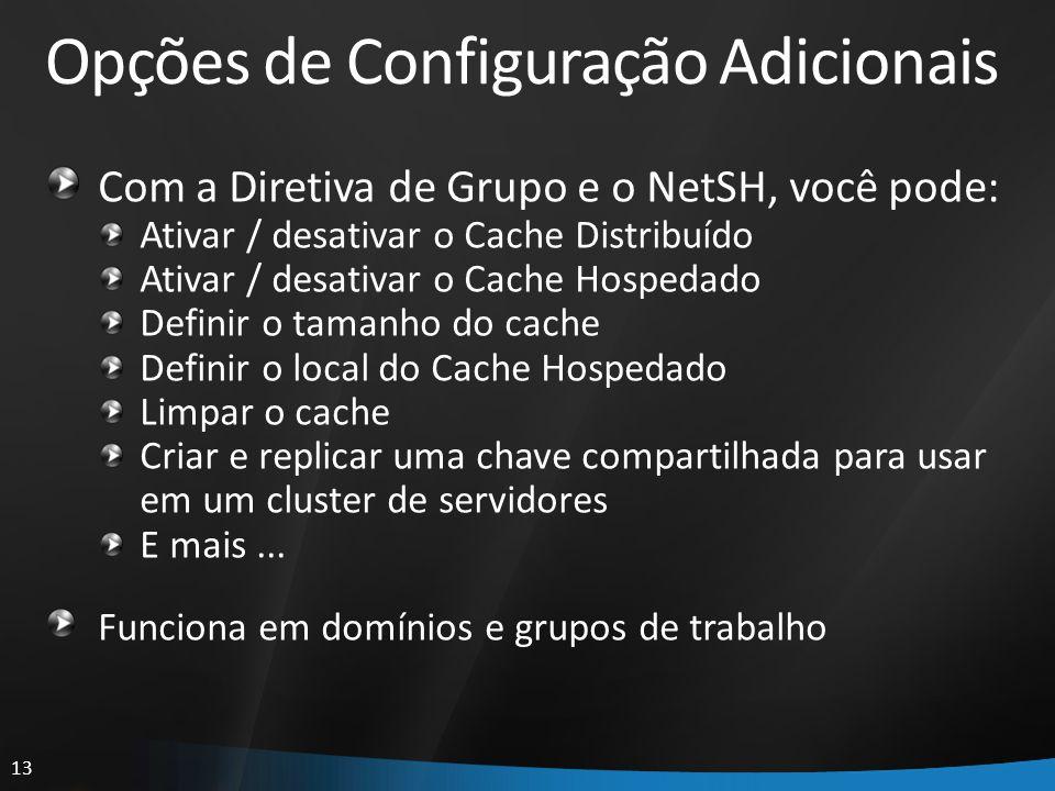 13 Opções de Configuração Adicionais Com a Diretiva de Grupo e o NetSH, você pode: Ativar / desativar o Cache Distribuído Ativar / desativar o Cache H