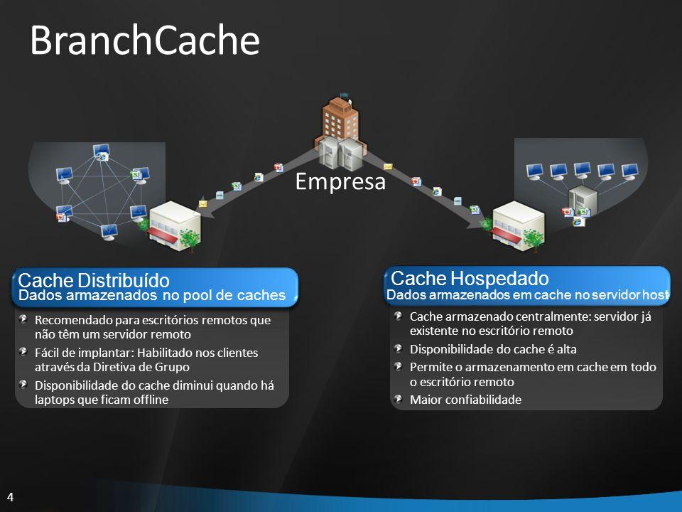4 Cache Hospedado Dados armazenados em cache no servidor host Cache armazenado centralmente: servidor já existente no escritório remoto Disponibilidad