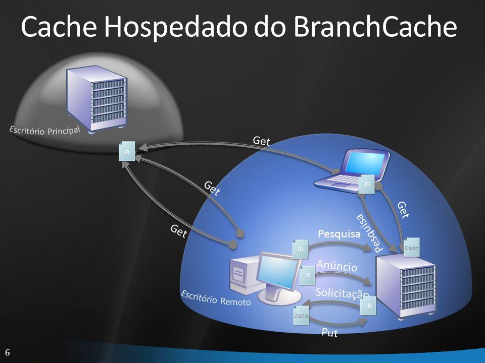7 Estrutura do BranchCache Aplicações de Terceiros IEIE HTTP (WebIO/http.sys) BranchCacheBranchCache WMPWMP SMB ( CSC/SRV ) SharePointSharePoint ExplorerExplorer OfficeOffice BITSBITS OfficeOffice CopyFileCopyFile