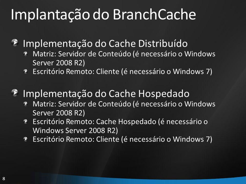 8 Implantação do BranchCache Implementação do Cache Distribuído Matriz: Servidor de Conteúdo (é necessário o Windows Server 2008 R2) Escritório Remoto