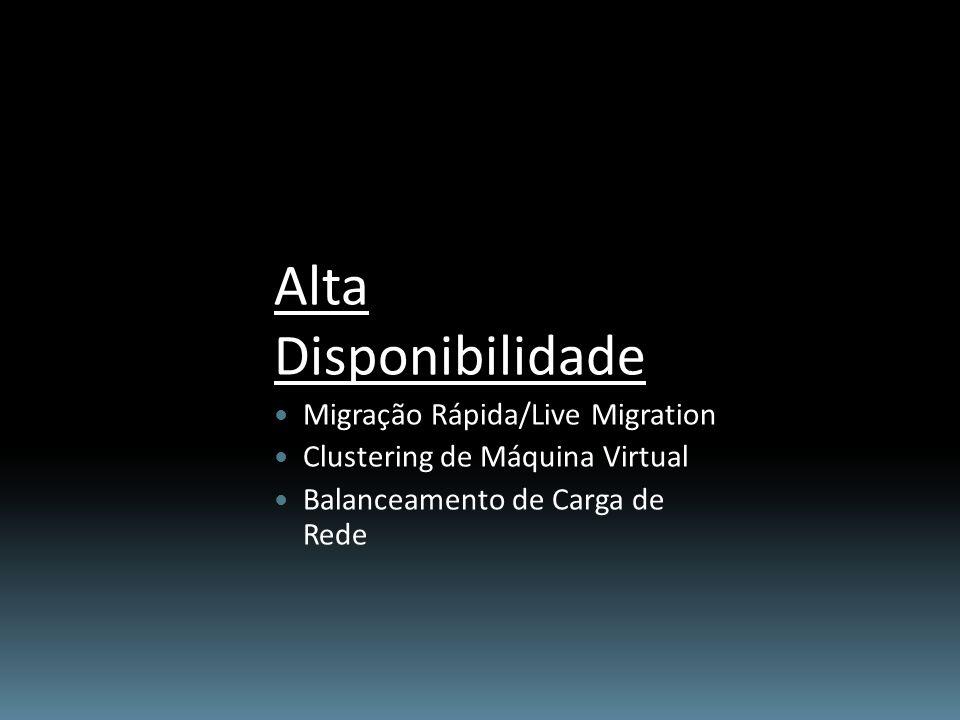 Alta Disponibilidade Migração Rápida/Live Migration Clustering de Máquina Virtual Balanceamento de Carga de Rede