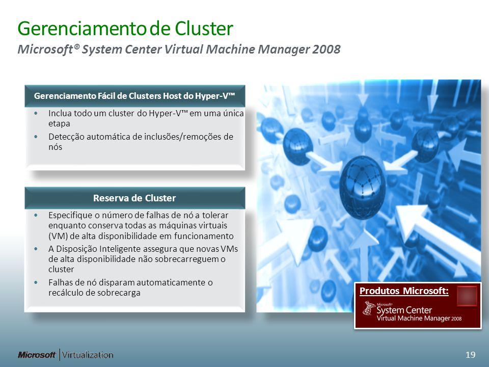 Gerenciamento de Cluster Microsoft® System Center Virtual Machine Manager 2008 Especifique o número de falhas de nó a tolerar enquanto conserva todas