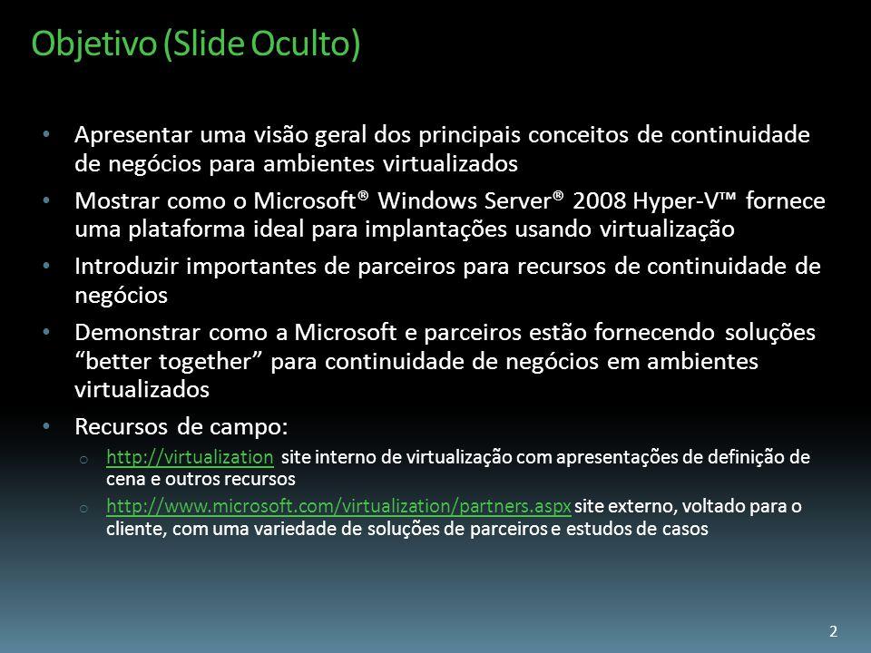 Objetivo (Slide Oculto) Apresentar uma visão geral dos principais conceitos de continuidade de negócios para ambientes virtualizados Mostrar como o Mi
