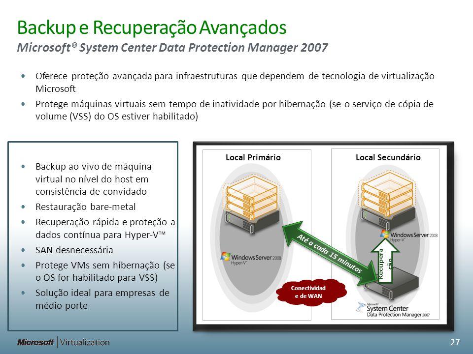 Oferece proteção avançada para infraestruturas que dependem de tecnologia de virtualização Microsoft Protege máquinas virtuais sem tempo de inatividad