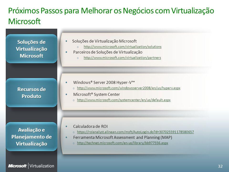 Próximos Passos para Melhorar os Negócios com Virtualização Microsoft Windows® Server 2008 Hyper-V o http://www.microsoft.com/windowsserver2008/en/us/