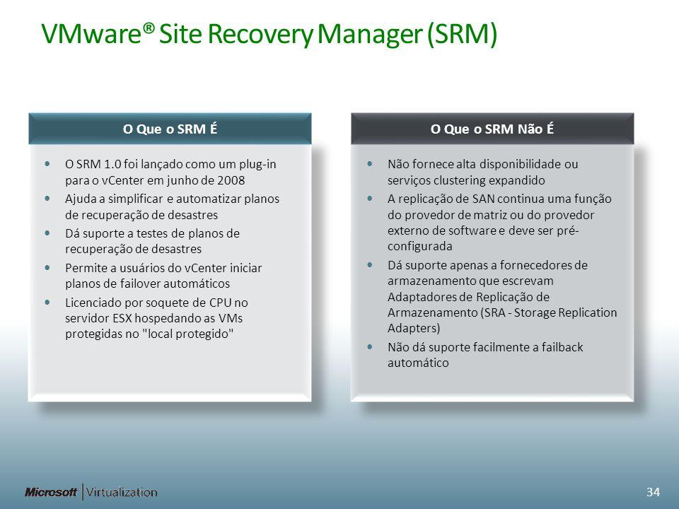 VMware® Site Recovery Manager (SRM) O Que o SRM É O SRM 1.0 foi lançado como um plug-in para o vCenter em junho de 2008 Ajuda a simplificar e automati
