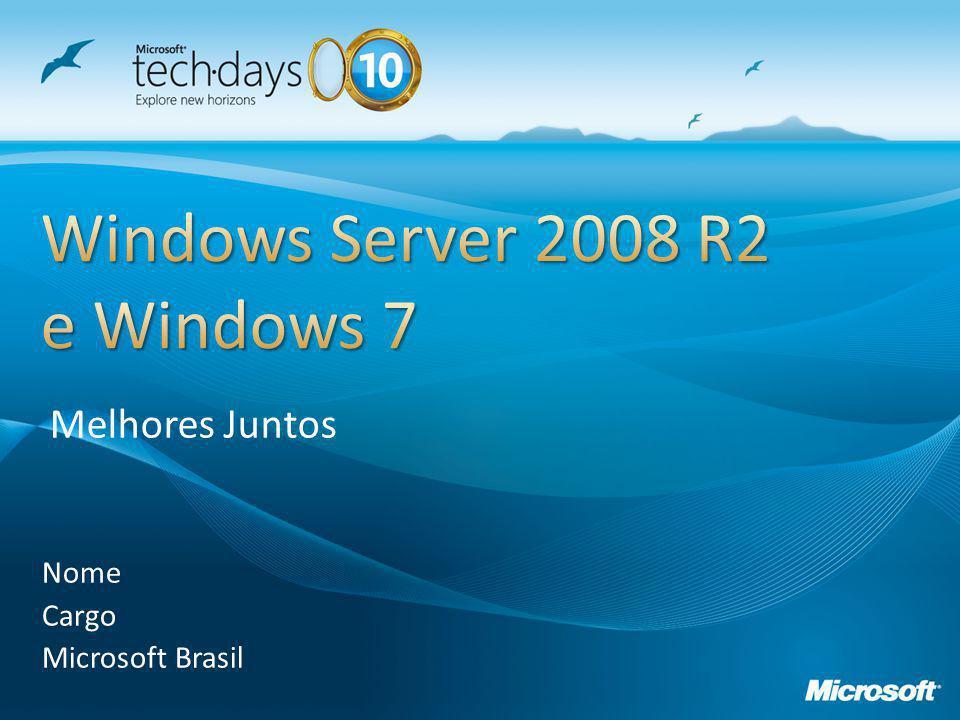 Streaming HTTP no AppV otimizado usando BranchCache Aplicações virtuais têm que atravessar o link de WAN apenas uma vez Elimine Servidores do IIS (servidores de preparação do AppV) no escritório remoto Suporte disponível no Windows 7 e Windows Server 2008 R2