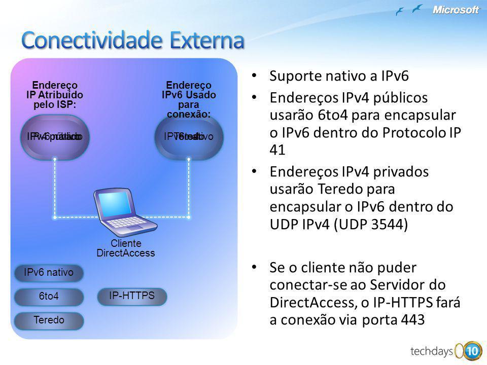 Suporte nativo a IPv6 Endereços IPv4 públicos usarão 6to4 para encapsular o IPv6 dentro do Protocolo IP 41 Endereços IPv4 privados usarão Teredo para