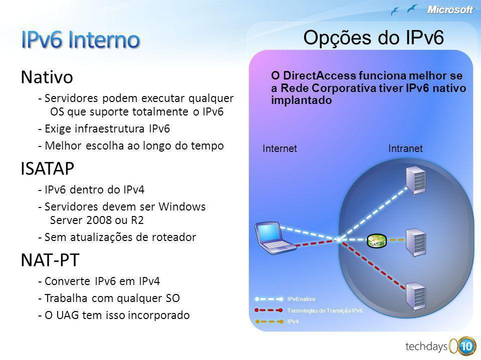Nativo - Servidores podem executar qualquer OS que suporte totalmente o IPv6 - Exige infraestrutura IPv6 - Melhor escolha ao longo do tempo ISATAP - I