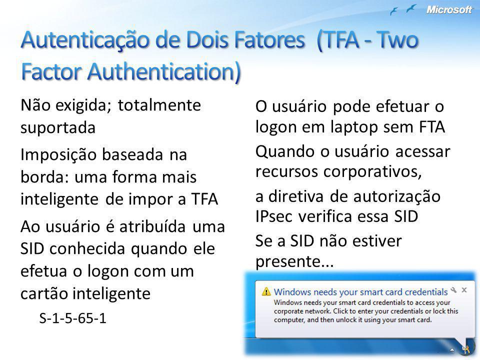 Não exigida; totalmente suportada Imposição baseada na borda: uma forma mais inteligente de impor a TFA Ao usuário é atribuída uma SID conhecida quand
