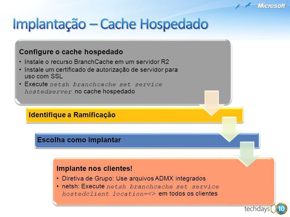 Configure o cache hospedado Instale o recurso BranchCache em um servidor R2 Instale um certificado de autorização de servidor para uso com SSL Execute