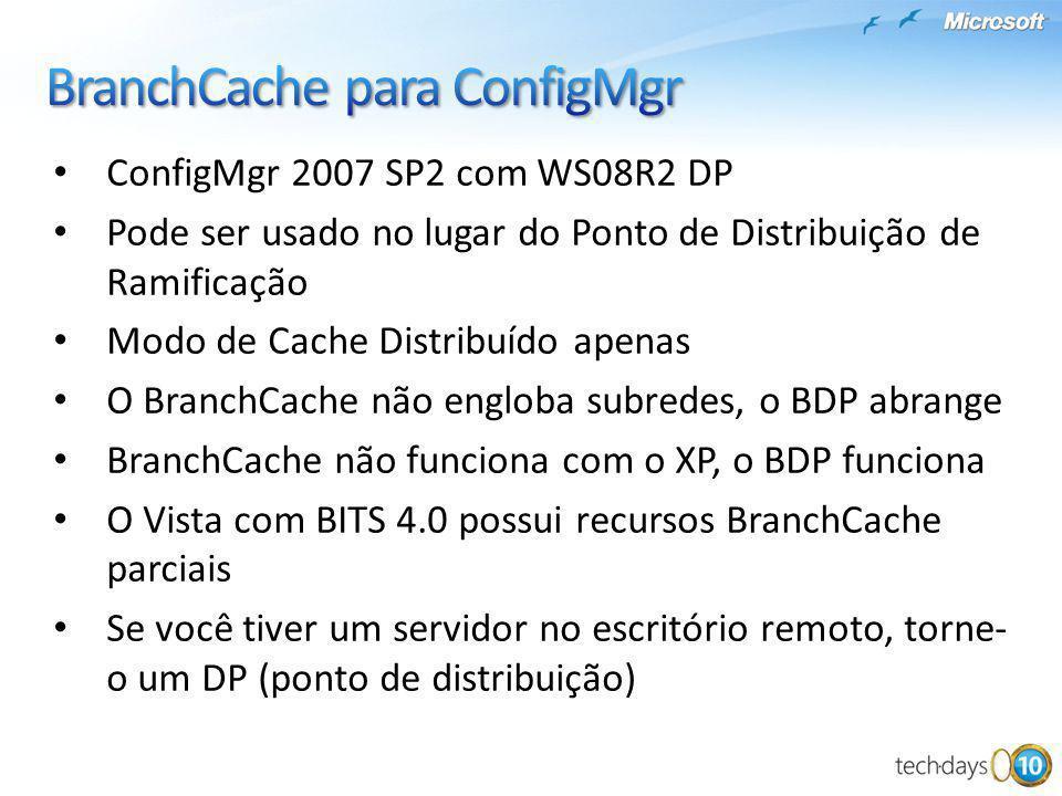 ConfigMgr 2007 SP2 com WS08R2 DP Pode ser usado no lugar do Ponto de Distribuição de Ramificação Modo de Cache Distribuído apenas O BranchCache não en