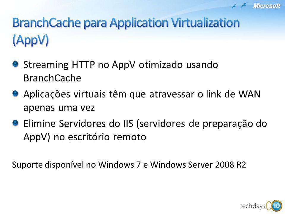 Streaming HTTP no AppV otimizado usando BranchCache Aplicações virtuais têm que atravessar o link de WAN apenas uma vez Elimine Servidores do IIS (ser