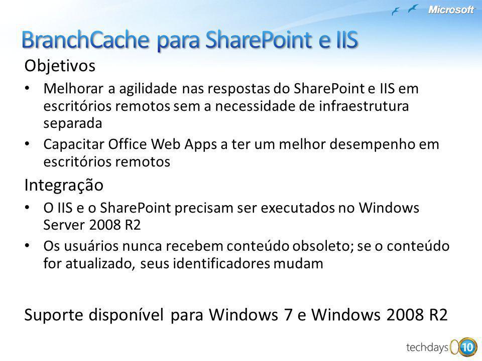 Objetivos Melhorar a agilidade nas respostas do SharePoint e IIS em escritórios remotos sem a necessidade de infraestrutura separada Capacitar Office