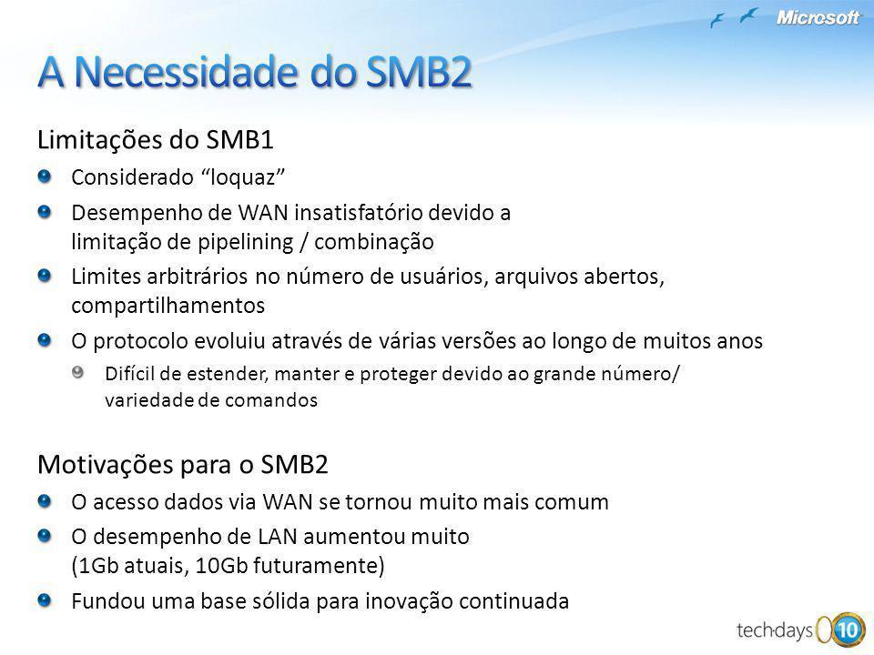 Limitações do SMB1 Considerado loquaz Desempenho de WAN insatisfatório devido a limitação de pipelining / combinação Limites arbitrários no número de