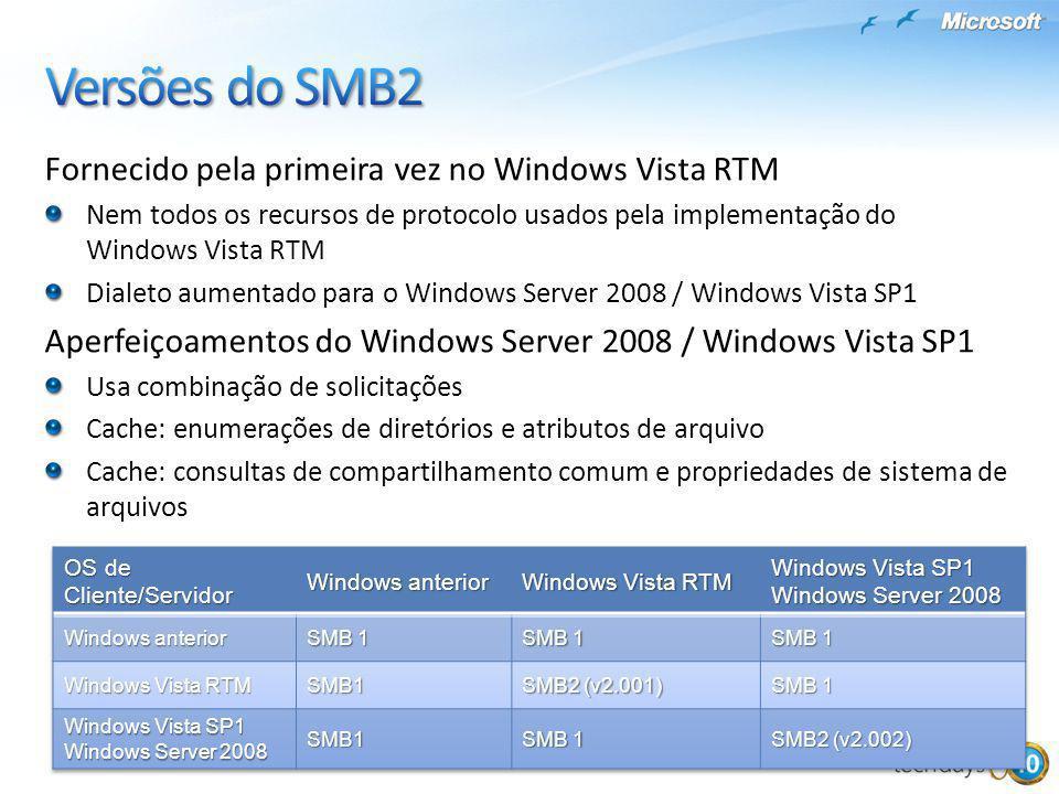 Fornecido pela primeira vez no Windows Vista RTM Nem todos os recursos de protocolo usados pela implementação do Windows Vista RTM Dialeto aumentado p