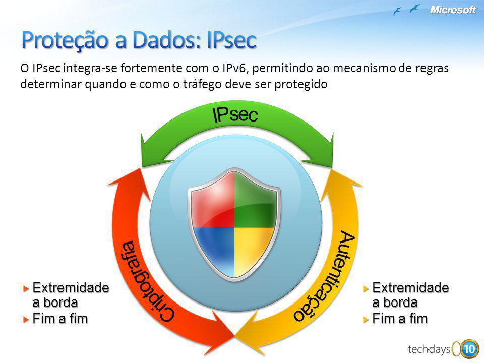 O IPsec integra-se fortemente com o IPv6, permitindo ao mecanismo de regras determinar quando e como o tráfego deve ser protegido Extremidade a borda
