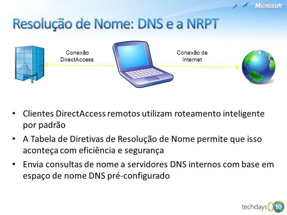 Suporte nativo a IPv6 Endereços IPv4 públicos usarão 6to4 para encapsular o IPv6 dentro do Protocolo IP 41 Endereços IPv4 privados usarão Teredo para encapsular o IPv6 dentro do UDP IPv4 (UDP 3544) Se o cliente não puder conectar-se ao Servidor do DirectAccess, o IP-HTTPS fará a conexão via porta 443 Endereço IP Atribuído pelo ISP: IPv4 público Cliente DirectAccess Endereço IPv6 Usado para conexão: 6to4 IPv4 privado IPv6 nativo Teredo IPv6 nativo 6to4TeredoIP-HTTPS