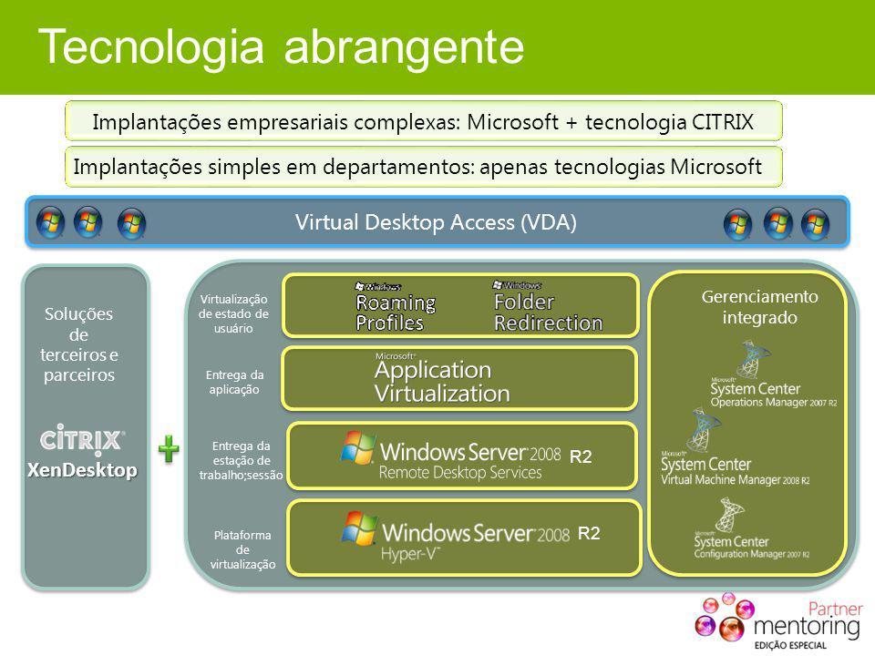 Tecnologia abrangente Implantações empresariais complexas: Microsoft + tecnologia CITRIX Implantações simples em departamentos: apenas tecnologias Mic