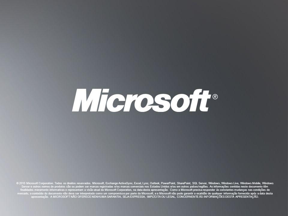V OLTAR AOS O BJETIVOS V OLTAR AOS O BJETIVOS © 2010 Microsoft Corporation. Todos os direitos reservados. Microsoft, Exchange ActiveSync, Excel, Lync,