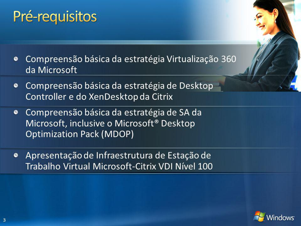 Compreensão básica da estratégia Virtualização 360 da Microsoft Compreensão básica da estratégia de Desktop Controller e do XenDesktop da Citrix Compreensão básica da estratégia de SA da Microsoft, inclusive o Microsoft® Desktop Optimization Pack (MDOP) Apresentação de Infraestrutura de Estação de Trabalho Virtual Microsoft-Citrix VDI Nível 100 3