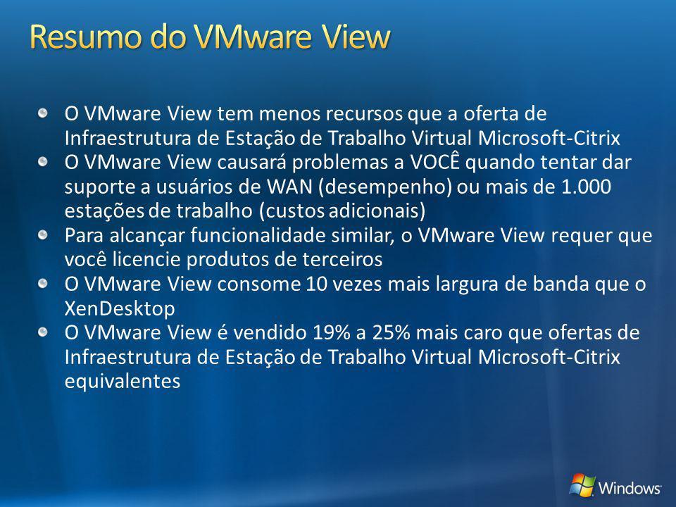 O VMware View tem menos recursos que a oferta de Infraestrutura de Estação de Trabalho Virtual Microsoft-Citrix O VMware View causará problemas a VOCÊ