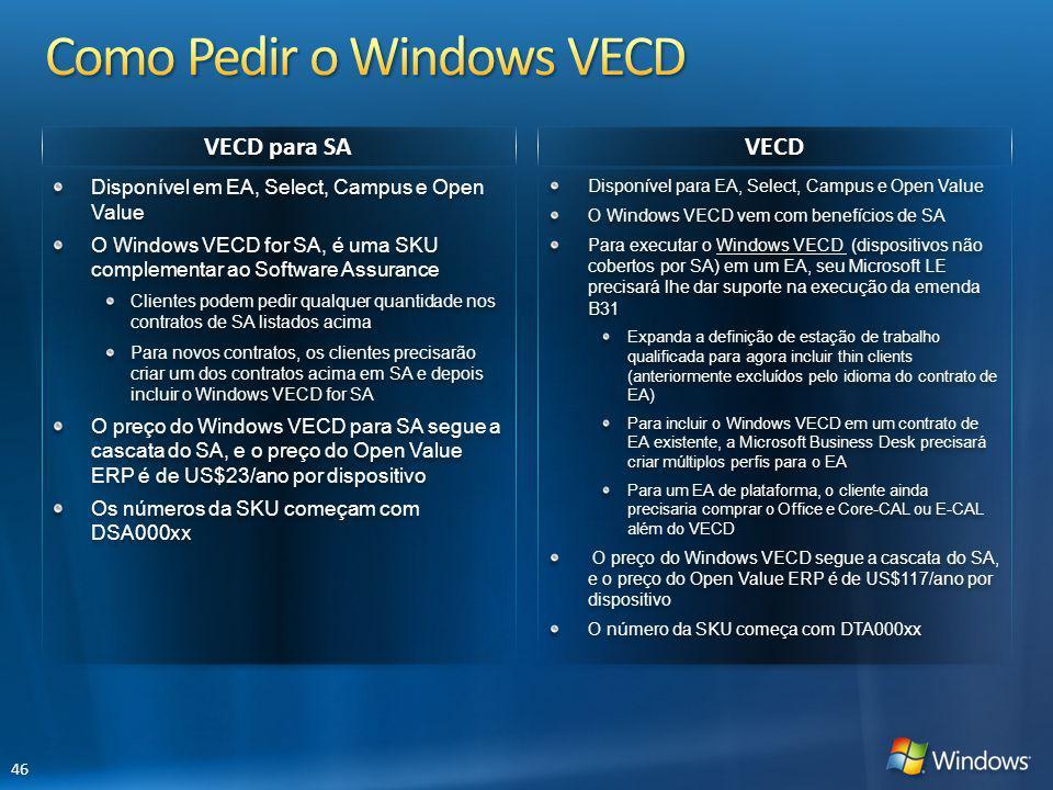 VECD para SA VECD Disponível para EA, Select, Campus e Open Value O Windows VECD vem com benefícios de SA Para executar o Windows VECD (dispositivos n