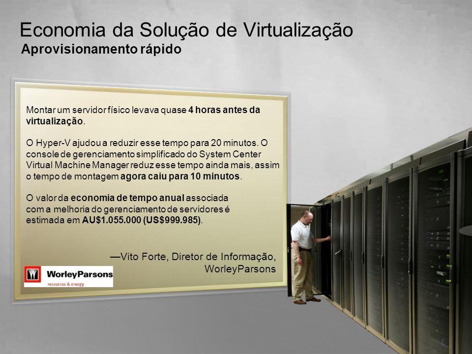 Montar um servidor físico levava quase 4 horas antes da virtualização. O Hyper-V ajudou a reduzir esse tempo para 20 minutos. O console de gerenciamen