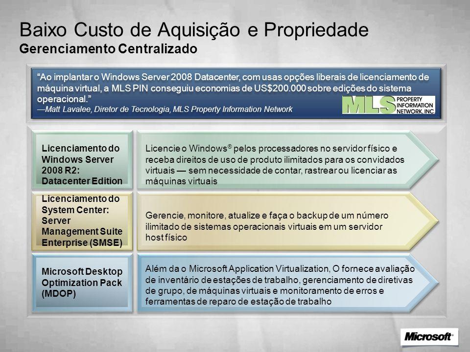 Baixo Custo de Aquisição e Propriedade Gerenciamento Centralizado Licenciamento do Windows Server 2008 R2: Datacenter Edition Licencie o Windows ® pel