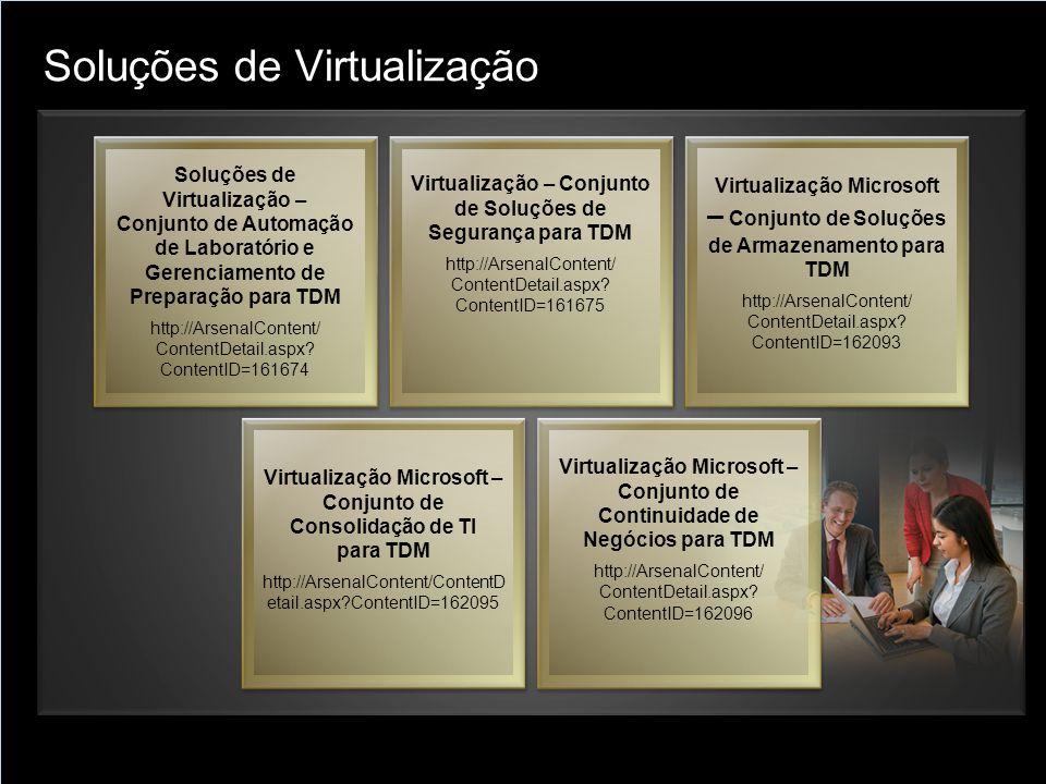 Soluções de Virtualização Soluções de Virtualização – Conjunto de Automação de Laboratório e Gerenciamento de Preparação para TDM http://ArsenalConten