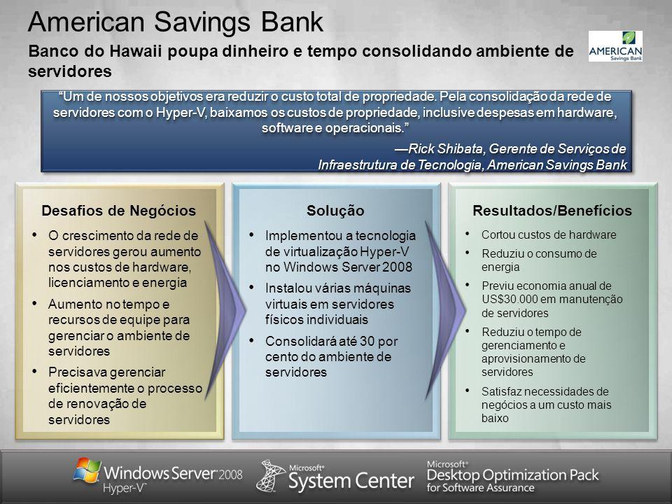 American Savings Bank Banco do Hawaii poupa dinheiro e tempo consolidando ambiente de servidores Um de nossos objetivos era reduzir o custo total de p