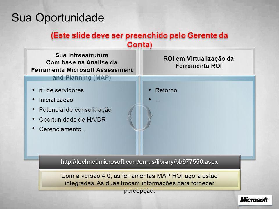 Sua Oportunidade (Este slide deve ser preenchido pelo Gerente da Conta) Sua Infraestrutura Com base na Análise da Ferramenta Microsoft Assessment and