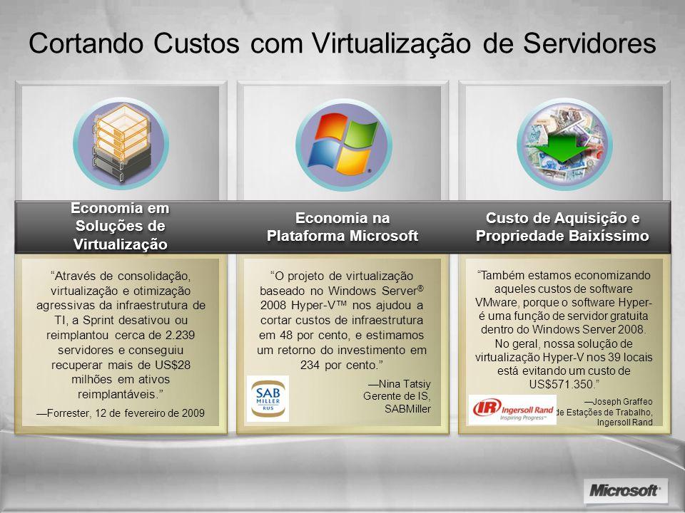 Cortando Custos com Virtualização de Servidores Através de consolidação, virtualização e otimização agressivas da infraestrutura de TI, a Sprint desat