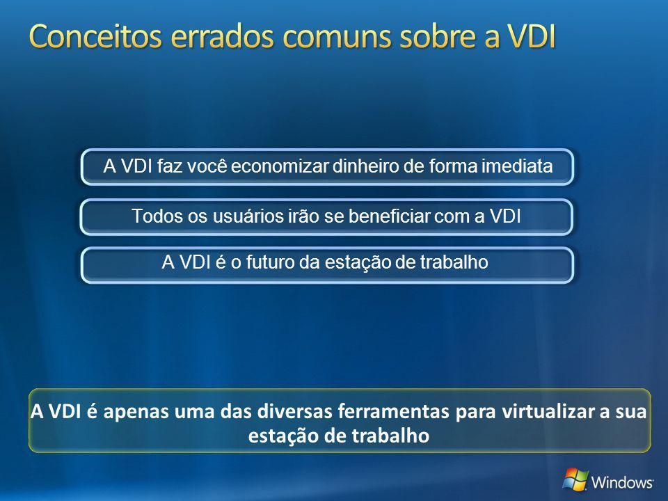 A VDI é apenas uma das diversas ferramentas para virtualizar a sua estação de trabalho A VDI faz você economizar dinheiro de forma imediata Todos os u
