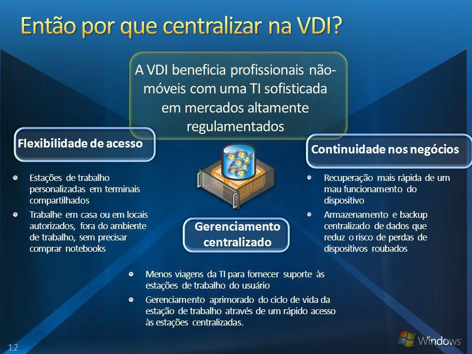 A VDI beneficia profissionais não- móveis com uma TI sofisticada em mercados altamente regulamentados Estações de trabalho personalizadas em terminais