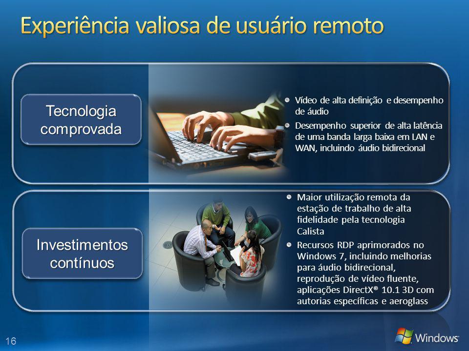 16 Maior utilização remota da estação de trabalho de alta fidelidade pela tecnologia Calista Recursos RDP aprimorados no Windows 7, incluindo melhoria