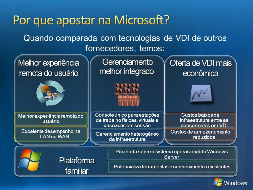 Melhor experiência remota do usuário Gerenciamento melhor integrado Oferta de VDI mais econômica Melhor experiência remota do usuário Excelente desemp