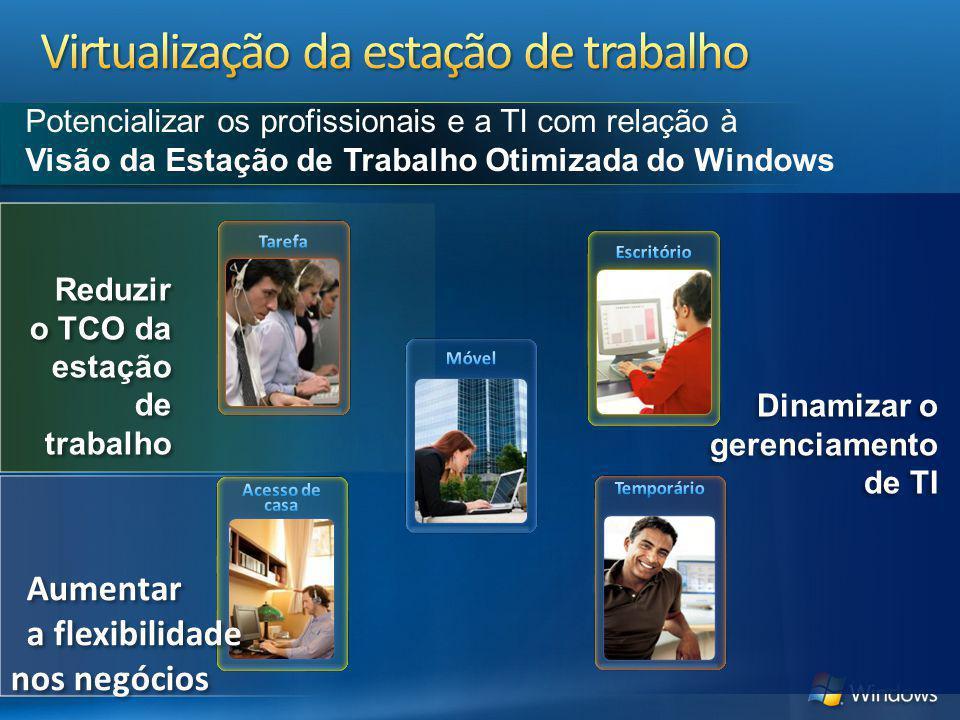 Reduzir o TCO da estação de trabalho Dinamizar o gerenciamento de TI Potencializar os profissionais e a TI com relação à Visão da Estação de Trabalho