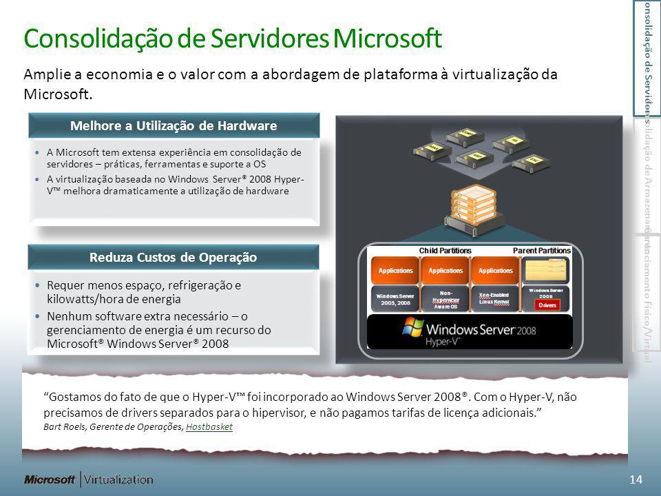 Consolidação de Servidores Microsoft Amplie a economia e o valor com a abordagem de plataforma à virtualização da Microsoft. Gostamos do fato de que o