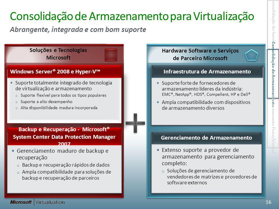 Consolidação de Armazenamento para Virtualização Abrangente, integrada e com bom suporte 16 Suporte forte de fornecedores de armazenamento líderes da