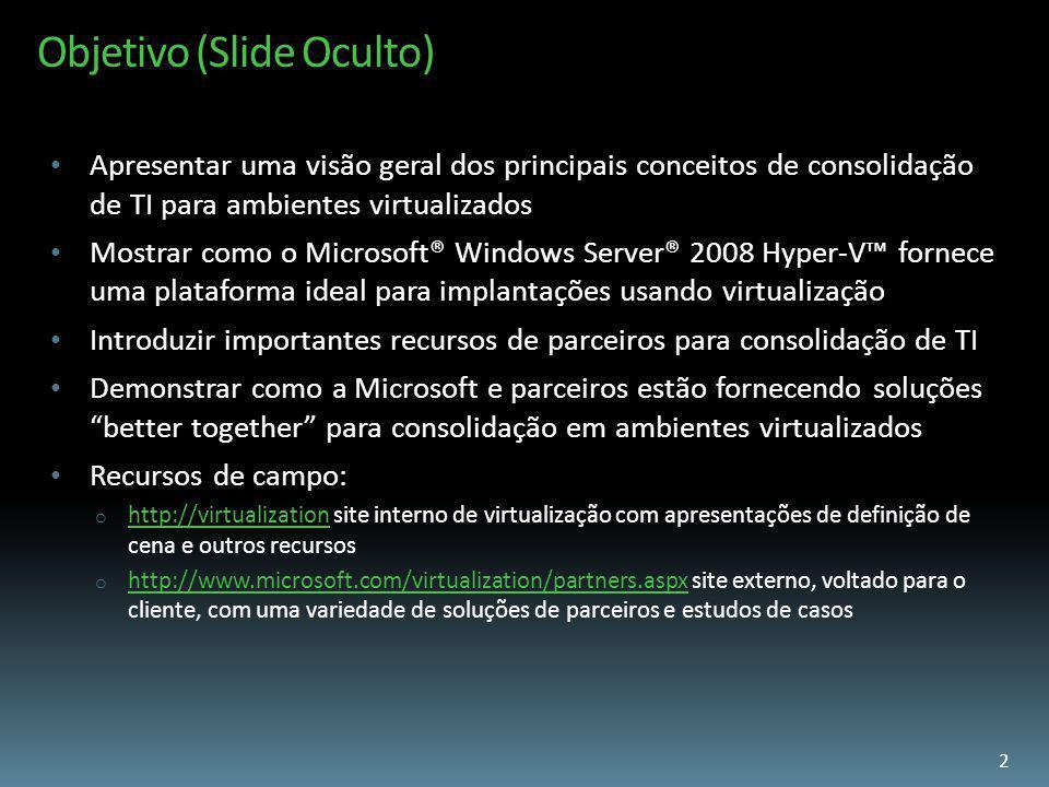 Objetivo (Slide Oculto) Apresentar uma visão geral dos principais conceitos de consolidação de TI para ambientes virtualizados Mostrar como o Microsof
