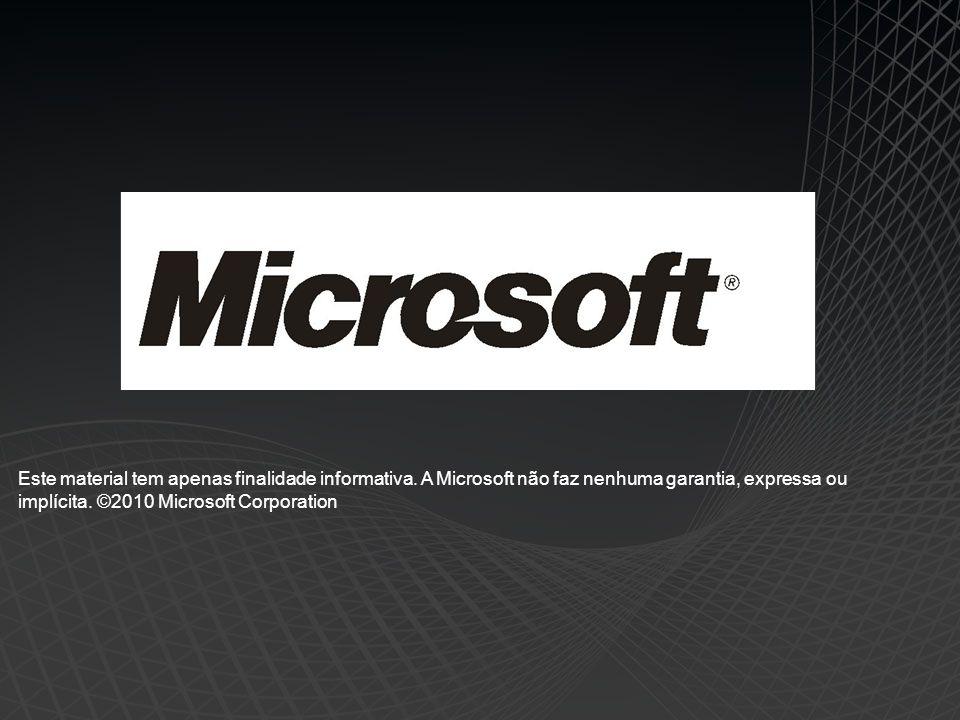 Este material tem apenas finalidade informativa. A Microsoft não faz nenhuma garantia, expressa ou implícita. ©2010 Microsoft Corporation