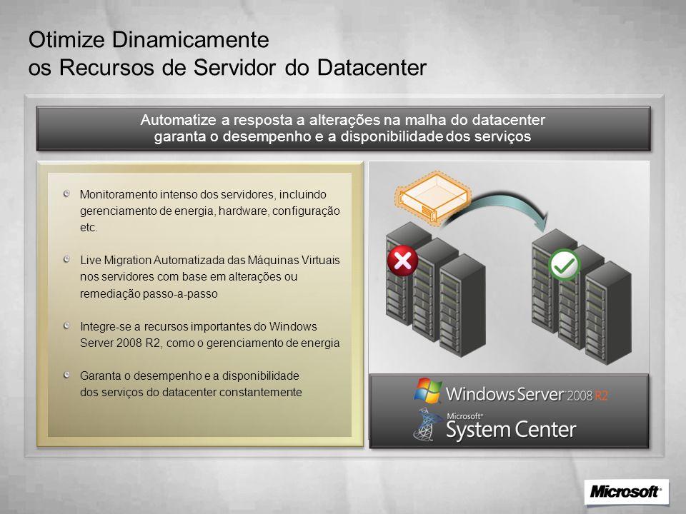 Otimize Dinamicamente os Recursos de Servidor do Datacenter Automatize a resposta a alterações na malha do datacenter garanta o desempenho e a disponibilidade dos serviços Monitoramento intenso dos servidores, incluindo gerenciamento de energia, hardware, configuração etc.