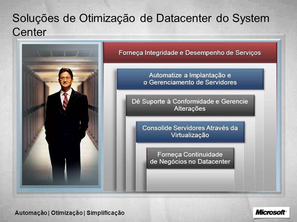 Soluções de Otimização de Datacenter do System Center Forneça Integridade e Desempenho de Serviços Automatize a Implantação e o Gerenciamento de Servidores Dê Suporte à Conformidade e Gerencie Alterações Forneça Continuidade de Negócios no Datacenter Consolide Servidores Através da Virtualização Automação | Otimização | Simplificação