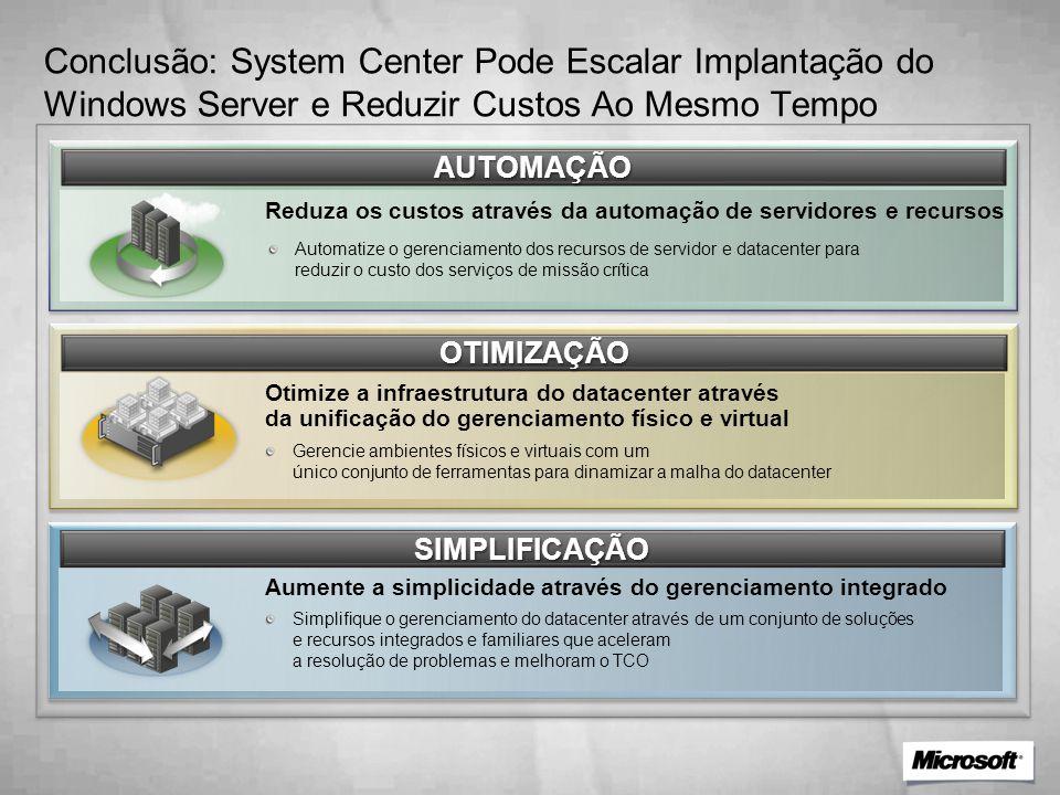 AUTOMAÇÃO Automatize o gerenciamento dos recursos de servidor e datacenter para reduzir o custo dos serviços de missão crítica Reduza os custos através da automação de servidores e recursos OTIMIZAÇÃO Otimize a infraestrutura do datacenter através da unificação do gerenciamento físico e virtual SIMPLIFICAÇÃO Aumente a simplicidade através do gerenciamento integrado Gerencie ambientes físicos e virtuais com um único conjunto de ferramentas para dinamizar a malha do datacenter Simplifique o gerenciamento do datacenter através de um conjunto de soluções e recursos integrados e familiares que aceleram a resolução de problemas e melhoram o TCO Conclusão: System Center Pode Escalar Implantação do Windows Server e Reduzir Custos Ao Mesmo Tempo