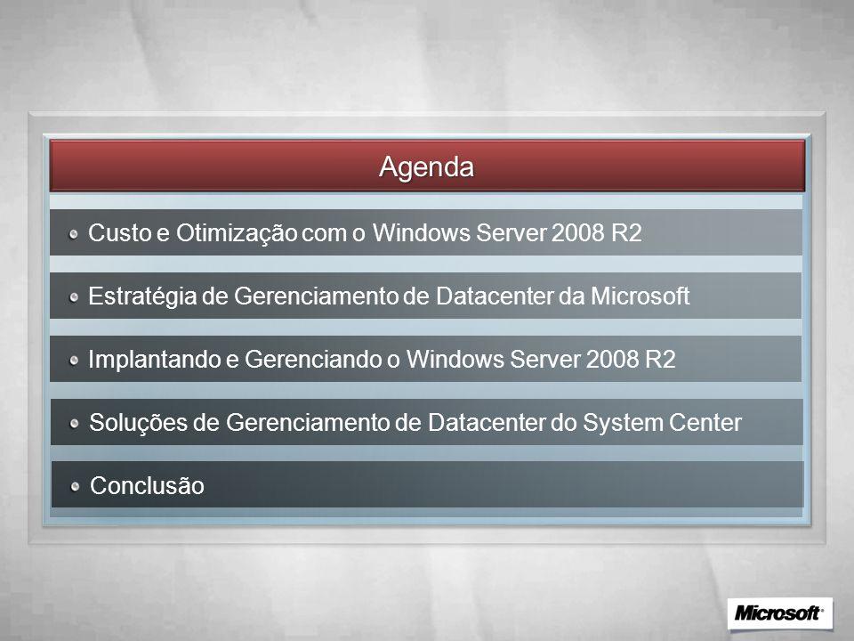 Agenda Custo e Otimização com o Windows Server 2008 R2 Estratégia de Gerenciamento de Datacenter da Microsoft Implantando e Gerenciando o Windows Server 2008 R2 Soluções de Gerenciamento de Datacenter do System Center Conclusão