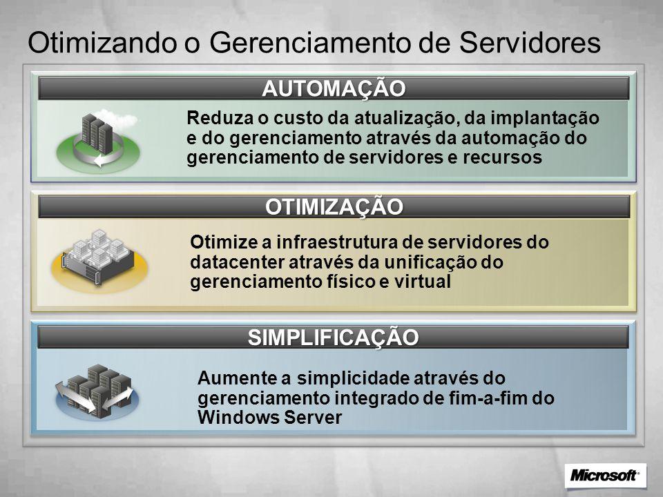 Otimizando o Gerenciamento de Servidores AUTOMAÇÃO Reduza o custo da atualização, da implantação e do gerenciamento através da automação do gerenciamento de servidores e recursos OTIMIZAÇÃO Otimize a infraestrutura de servidores do datacenter através da unificação do gerenciamento físico e virtual SIMPLIFICAÇÃO Aumente a simplicidade através do gerenciamento integrado de fim-a-fim do Windows Server