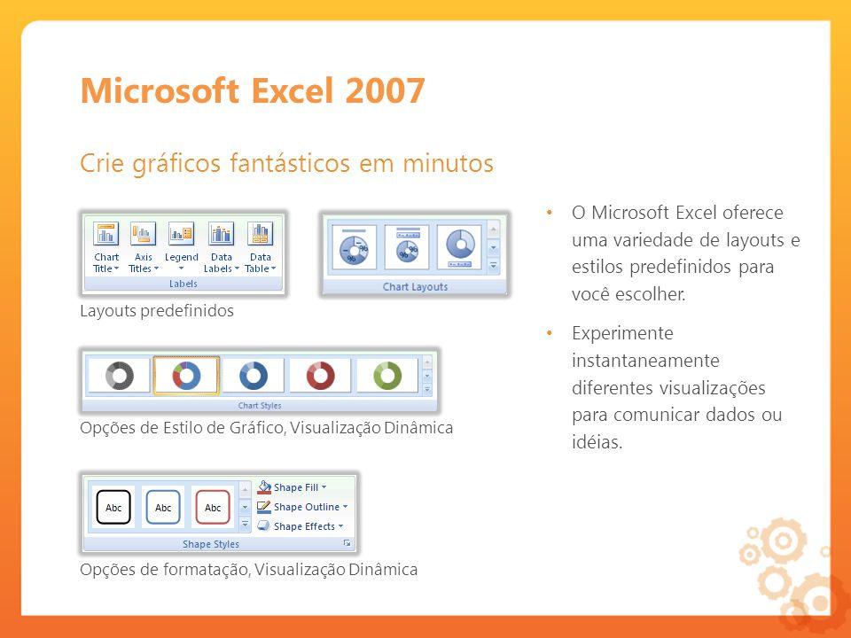 Microsoft Excel 2007 Crie gráficos fantásticos em minutos O Microsoft Excel oferece uma variedade de layouts e estilos predefinidos para você escolher.